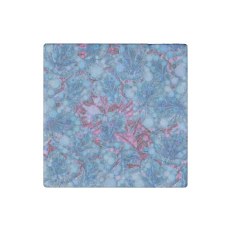 Deep Blue Purple Abstract Flowers Stone Magnet