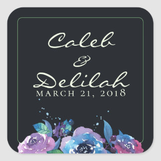 Deep Blue Purple Moody Twilight Floral Wedding Square Sticker