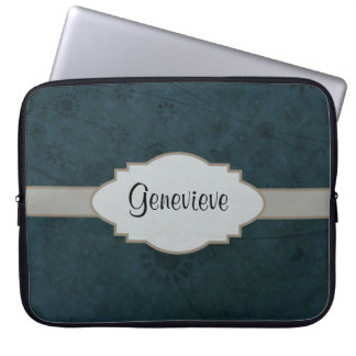 Deep Blue Retro Floral Abstract Nameplate Laptop Sleeve