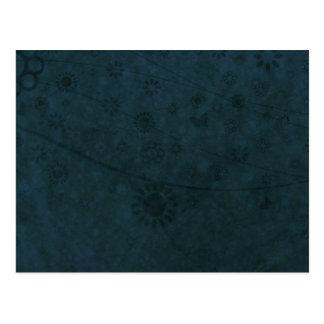Deep Blue Retro Flowers and Butterflies Abstract Postcard