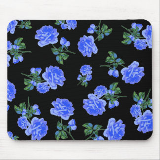 Deep Blue Roses flower pattern on black Mousepad
