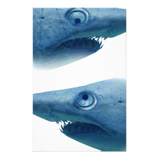 Deep Blue Sea Shark Animals Aqua Stationery