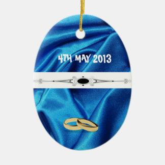 Deep Blue Silk Effect Wedding Ceramic Oval Decoration