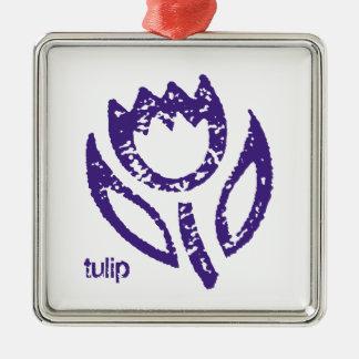 Deep Blue Tulip Christmas Ornament