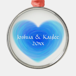 Deep Blue Water Heart - Love in Blue Personalized Silver-Colored Round Decoration