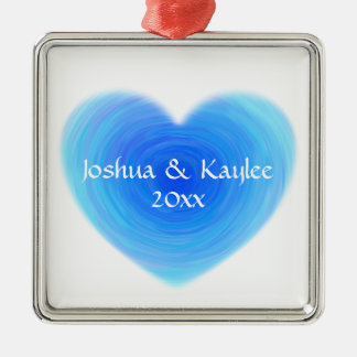 Deep Blue Water Heart - Love in Blue Personalized Silver-Colored Square Decoration