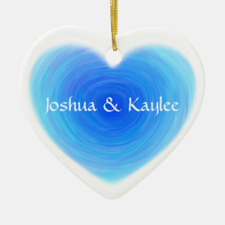 Deep Blue Water Heart Personalized Ceramic Heart Decoration