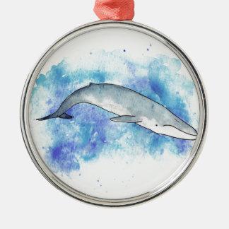 Deep blue whale christmas ornament