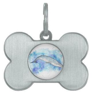 Deep blue whale pet name tag