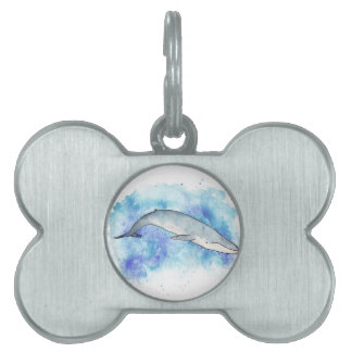 Deep blue whale pet tags