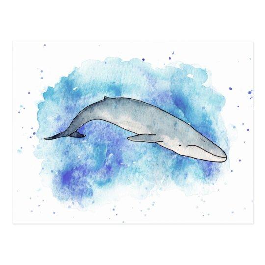 Deep blue whale postcard