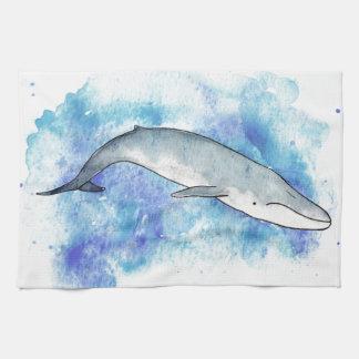 Deep blue whale tea towel