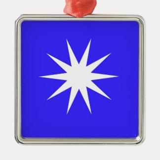 Deep Blue White Star Silver-Colored Square Decoration