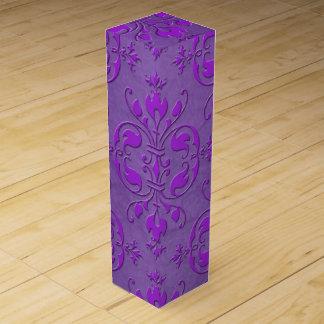 Deep Bright Purple Damask Pattern Wine Bottle Box