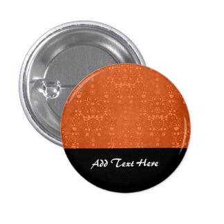 Deep Burnt Orange Fancy Damask Pattern Button