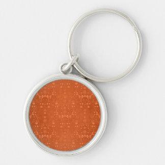 Deep Burnt Orange Fancy Damask Pattern Keychain
