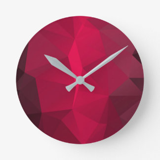 Deep Cherry Fractal pattern Funky Template. Round Clock