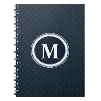 Deep Classic Navy Blue Pattern Custom Monogram Notebooks