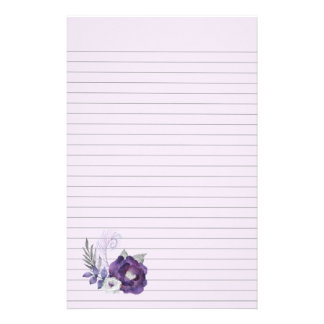 Deep Cool Purple Floral Group With Light Purple Stationery