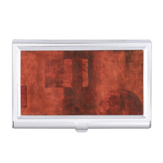 Deep Crimson Painting with Geometric Shapes Business Card Case