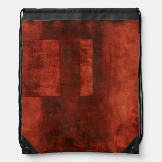 Deep Crimson Painting with Geometric Shapes Drawstring Bag