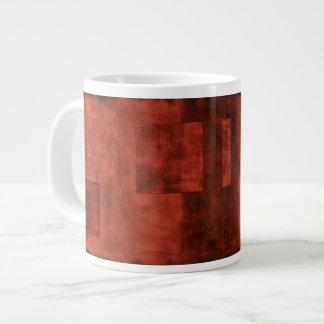 Deep Crimson Painting with Geometric Shapes Giant Coffee Mug