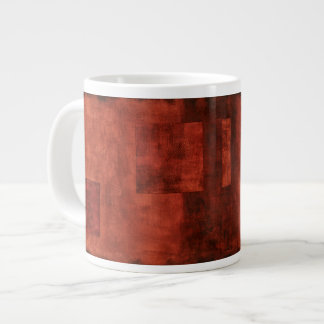 Deep Crimson Painting with Geometric Shapes Large Coffee Mug
