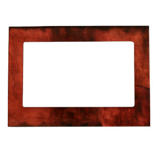 Deep Crimson Painting with Geometric Shapes Magnetic Photo Frames