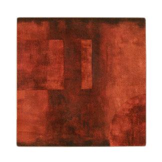 Deep Crimson Painting with Geometric Shapes Maple Wood Coaster