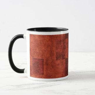Deep Crimson Painting with Geometric Shapes Mug