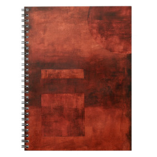 Deep Crimson Painting with Geometric Shapes Note Book