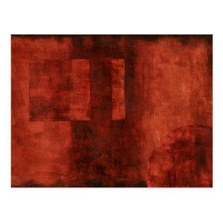 Deep Crimson Painting with Geometric Shapes Postcard