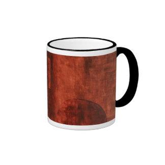 Deep Crimson Painting with Geometric Shapes Ringer Mug