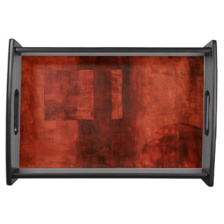Deep Crimson Painting with Geometric Shapes Serving Tray