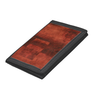 Deep Crimson Painting with Geometric Shapes Tri-fold Wallets
