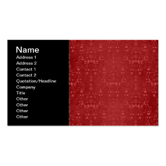 Deep Crimson Red Fancy Floral Damask Pattern Business Card Template
