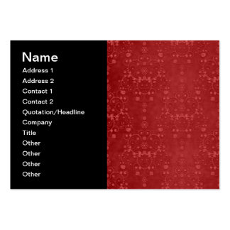 Deep Crimson Red Fancy Floral Damask Pattern Pack Of Chubby Business Cards