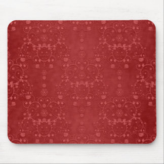 Deep Crimson Red Fancy Floral Damask Pattern Mouse Pads