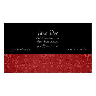 Deep Crimson Red Fancy Floral Damask Pattern Pack Of Standard Business Cards