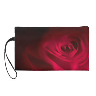 Deep Dark Gothic Red Rose Wristlet