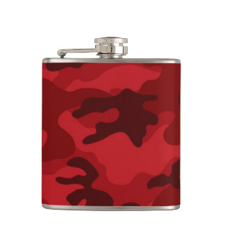 Deep, Dark Red Camo, Camouflage Hip Flask