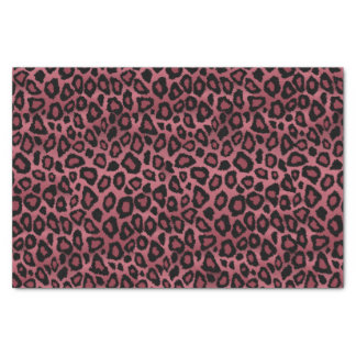 Deep Dusty Rose and Black Leopard Animal Print Tissue Paper