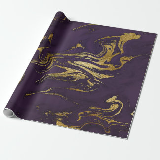 Deep Earth Gold Marble Plum Purple Wrapping Paper