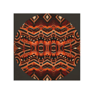Deep earth tones modern mandala art on wood