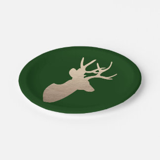 Deep Forest Green and Golden Deer Silhouette Paper Plate