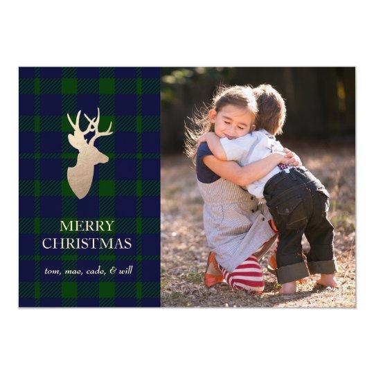 Deep Forest Plaid Golden Deer Holiday Card