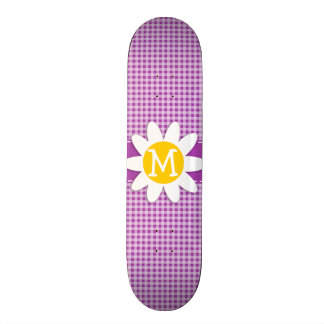 Deep Fuchsia Gingham Daisy Custom Skate Board