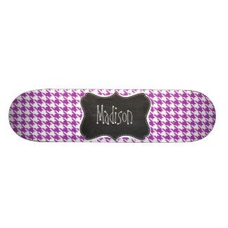 Deep Fuchsia Houndstooth Vintage Chalkboard look Skate Board Decks