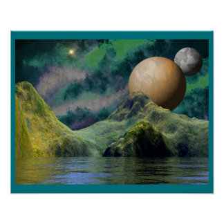 Deep Golden Green Alien Space Scene Poster