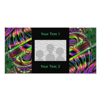 Deep green, and multi-color fractal design. photo greeting card
